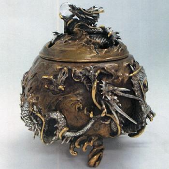 織田幸銅器:蝋型青銅製「大森孝志作 樊龍文香炉(桐箱入)」