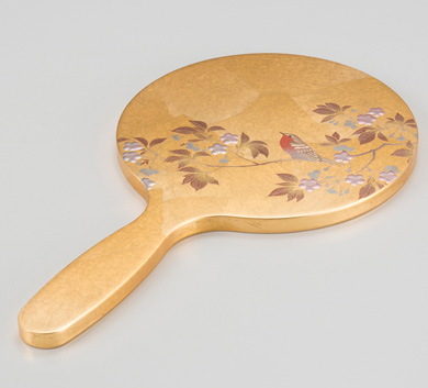 箔一:ヒューマンな手ちぎり箔によるハンドメイドクラフト「花見鳥 手鏡」