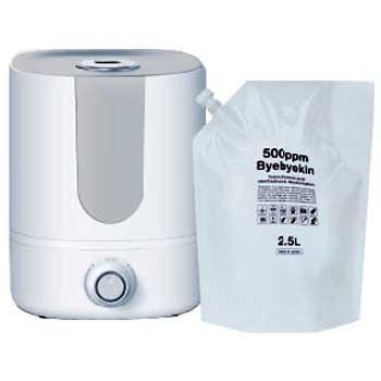 エクセレントメディカル:水と食塩を電気分解することで生成「パーフェクトセット(超音波噴霧器+バイバイ菌 詰替2.3L)」
