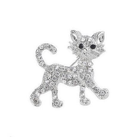 スワロフスキーで作られたかわいい猫のブローチです♪画像では分かりにくいですが、実物はキラキラでとても美しいブローチに仕上がっています。 スワロフスキー 猫 ブローチ こねこのさんぽ