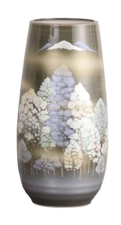 【送料無料】茜九谷焼花瓶 [さわやか森 8号] 花瓶 九谷焼 陶磁器製 かびん