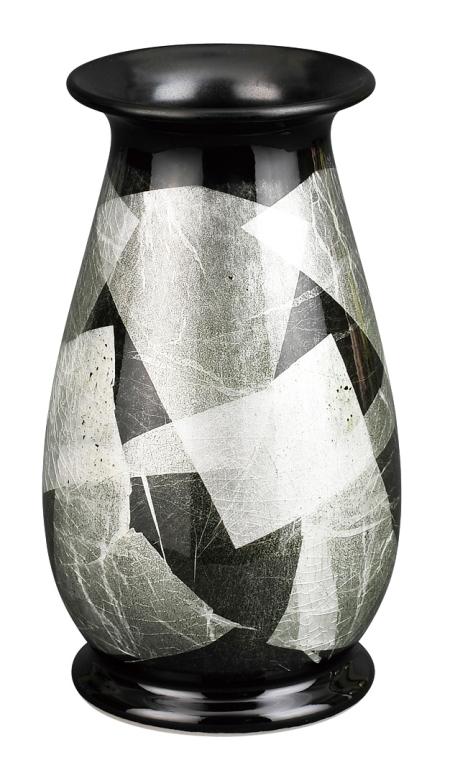 【送料無料】彩九谷焼花瓶 [銀彩白磁(はくじ) 6号] 花瓶 九谷焼 陶磁器製 かびん