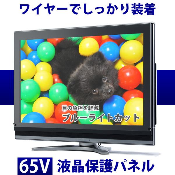 液晶テレビ保護パネル 65型 フラット式 【ブルーライトカット】●65インチ 液晶保護パネル 65V 液晶保護カバー プラズマテレビ・3Dテレビ 頑丈 ワイヤー 傷 防止 安全【返品不可】※こちらの商品はテレビではございません