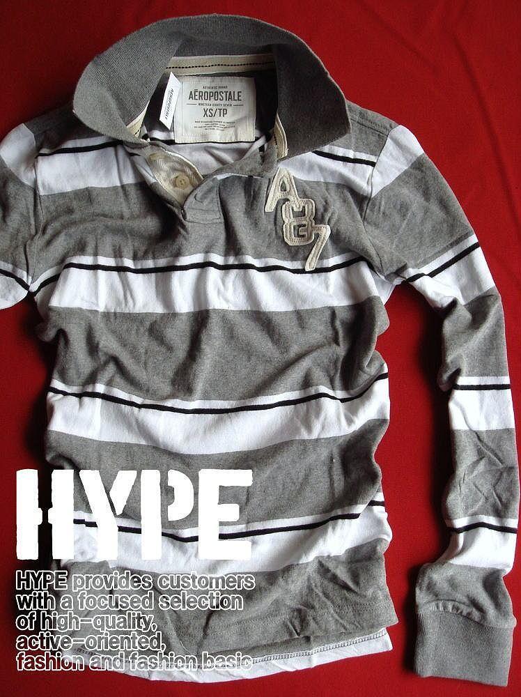 208f84789 Aeropostale polo shirt men s long sleeve genuine stripe pattern  appliqu eacute s 6072-2057 gray ...