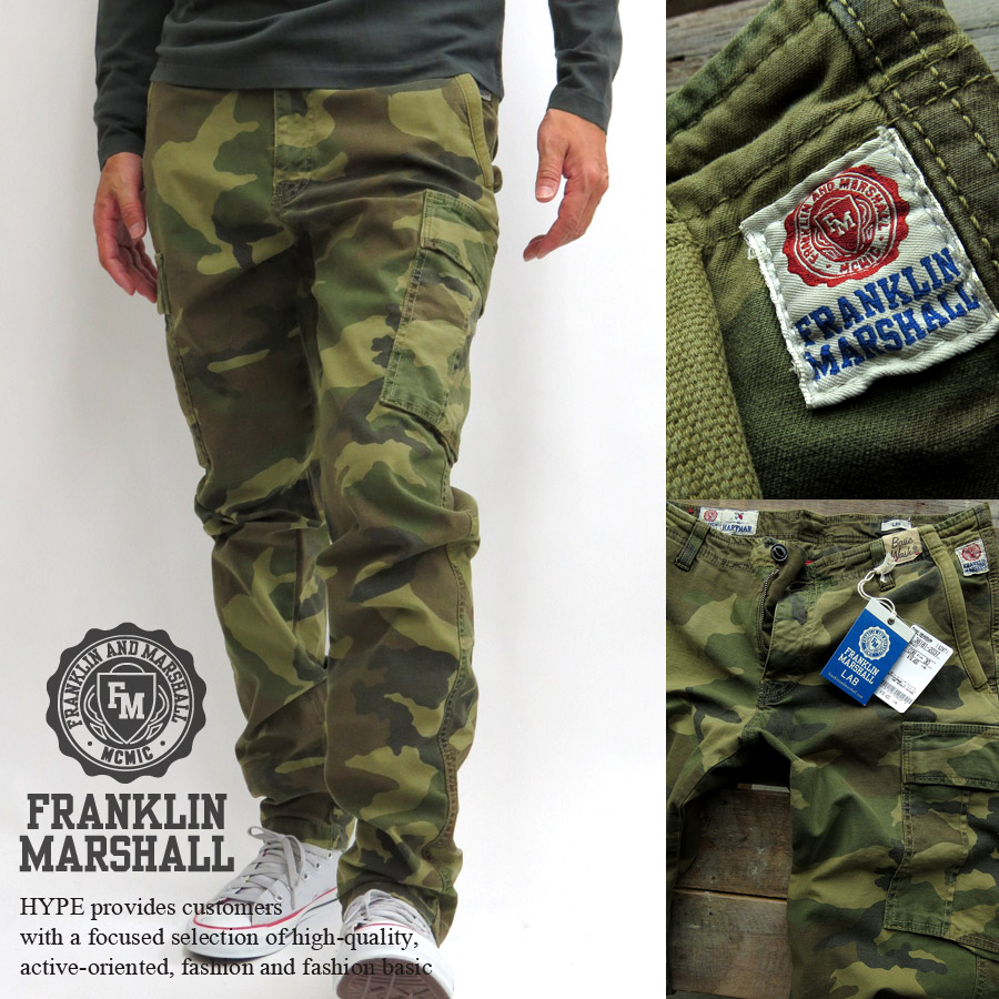Franklin Marshall FRANKLIN & MARSHALL cargo pants mens slim fit Camo pattern camouflage workpants genuine bottoms long men's fashion 38181-2037 camouflage ■ 05141128