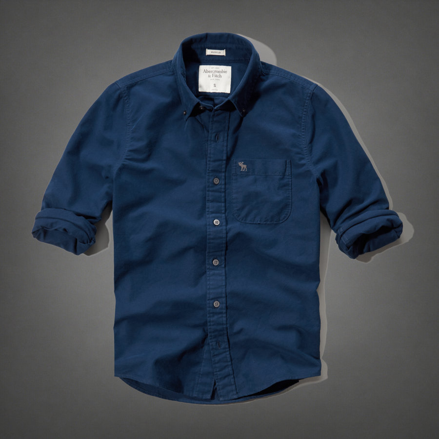 b0f72ba365a Abercrombie casual shirt mens genuine button-down shirt long sleeve t-shirt  plain t-shirts 125-168-1462-023 Navy Abercrombie  Fitch Abercrombie  amp   ...