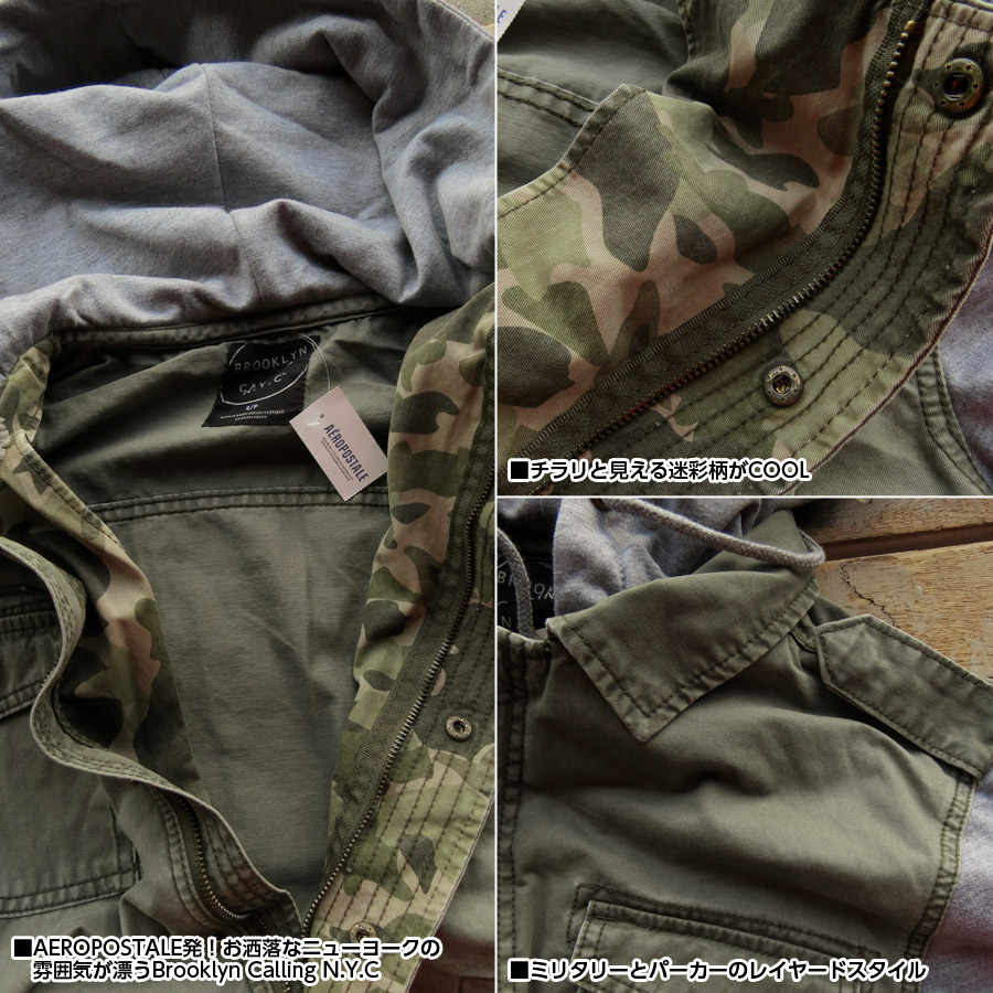 Aeropostale jacket men's Brooklyn Calling N.Y.C genuine men's amecasiauter brand 6763-4314-300 khaki AEROPOSTALE ■ 03140910