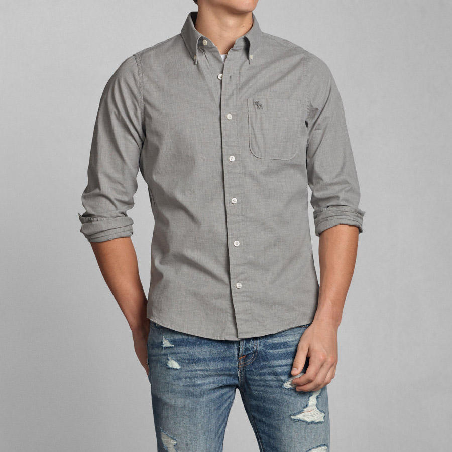 52614c3fd1 Abercrombie button-down shirt men s long sleeve shirts casual shirts  genuine long-sleeved tops men s fashion casual brand 125-168-1539-011 gray  Abercrombie ...