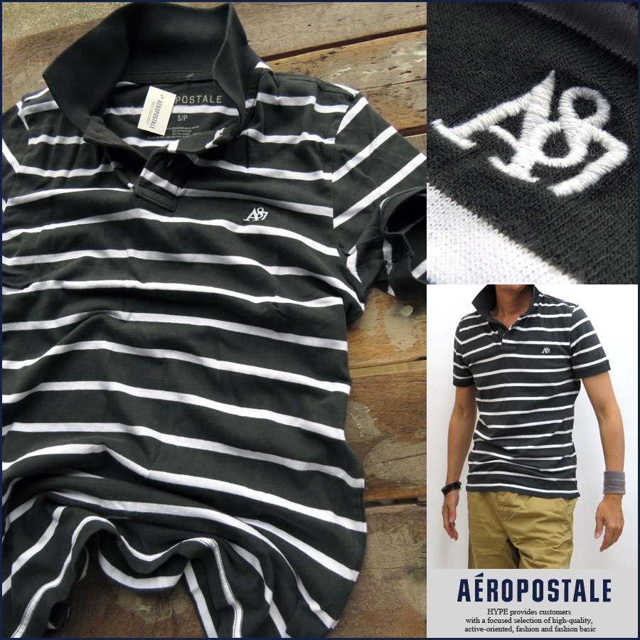 ae9da1c4 Aeropostale AEROPOSTALE polo shirt mens border genuine short sleeve A87  embroidered men's fashion tops 6047-6084-091 charcoal / white XS S M L XL  ...