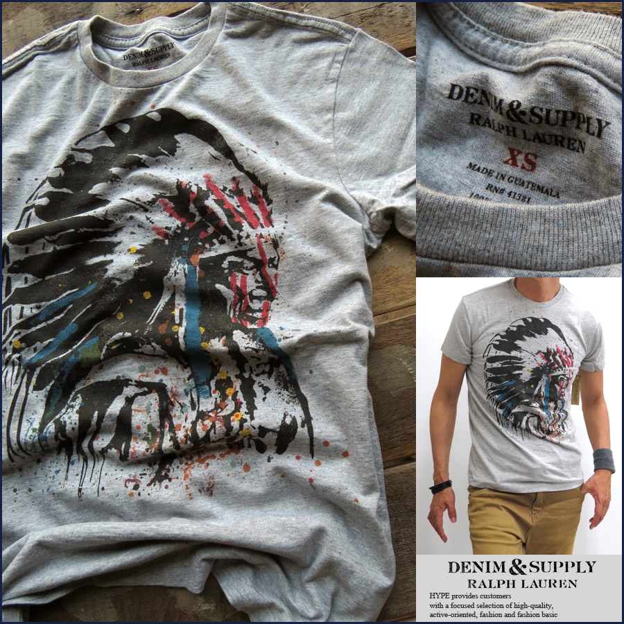 100%正規 ラルフローレン DENIM & SUPPLY Ralph Lauren Tシャツ メンズ Vintage プリント加工 788533197016 グレー メンズファッション トップス【あす楽対応】【YDKG-k】【kb】【H-TS】■01150523:HYPE