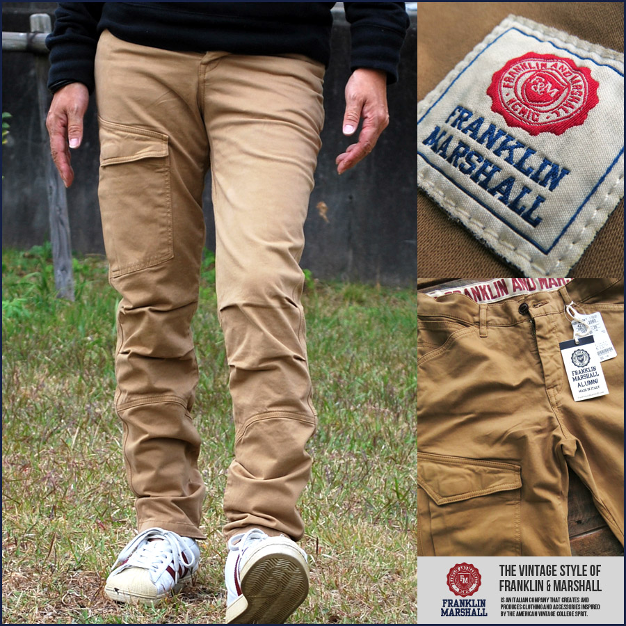 big sale d57ec a783b 100% regular Franklin Marshall FRANKLIN & MARSHALL cargo skinny pants mens  92181-2060-020 ♦ 05151112