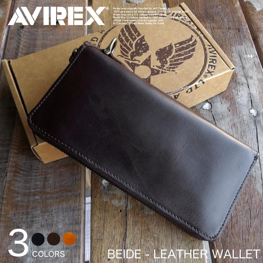 AVIREX BEIDE 本革 ウォレット 長財布 ラウンドファスナー AVX1806【Y-LO】【P10】