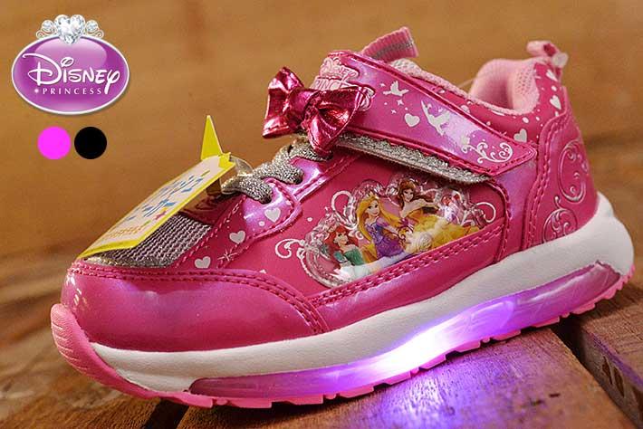 4e42b448eed04 Disneyprincess光る靴ディズニープリンセスアリエルラプンツェルベルスニーカーシューズキッズ女の子子供靴運動靴