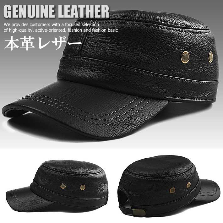 本革 レザー 牛革 LEATHER ワークキャップ メンズ 新品 帽子 キャップ 7996015 ブラック【ALI】■04171101:HYPE