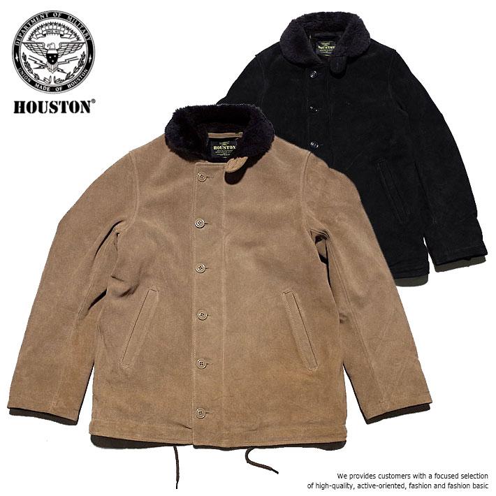 ジャケット メンズ ブランド 正規品 HOUSTON N-1 デッキジャケット ミリタリージャケット レザージャケット ジャケット アメカジ 牛革 スエード レザー ボア ムートン ブラック 黒 ベージュ タン 8174 UNI 181214 Y_KO
