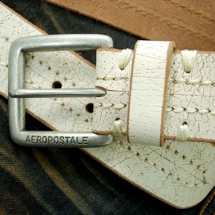 Aeropostale 7801-9706-100 leather-leather men's belts white AEROPOSTALE ◆ non-coupon and free replacement ◆