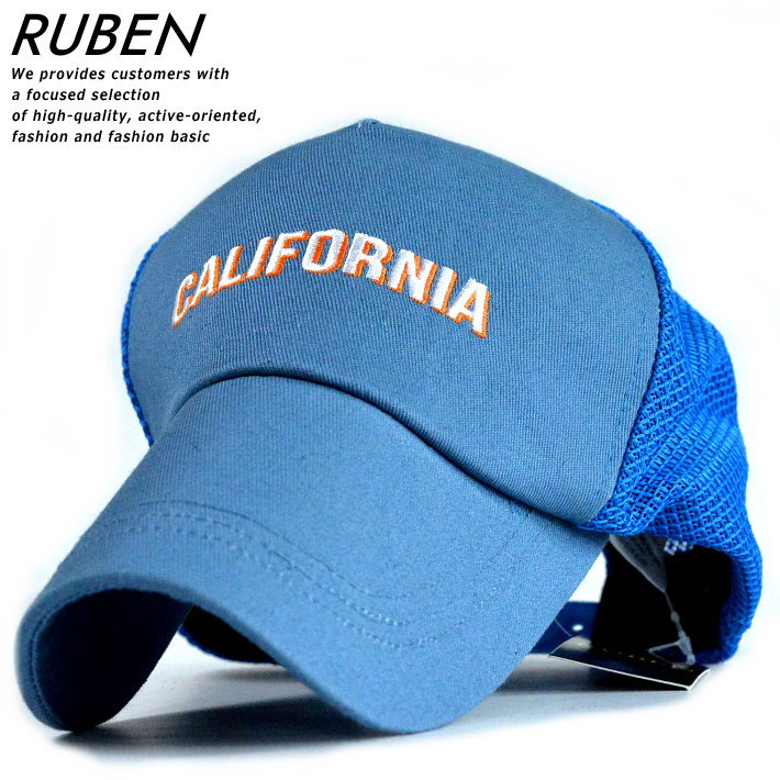 CALIFORNIA 日本正規代理店品 のロゴ刺繍がメッシュキャップ アメカジからきれいめコーデのはずしとしても使えるシンプルなデザイン スーパーSALE価格 キャップ メンズ メッシュキャップ 帽子 ロゴ 刺繍 シンプル おしゃれ オシャレ RUS-6191 190730 プレゼント 毎日続々入荷 アメカジ ブルー かっこいい 青 贈り物 RUBEN 夏 アウトドア 父の日
