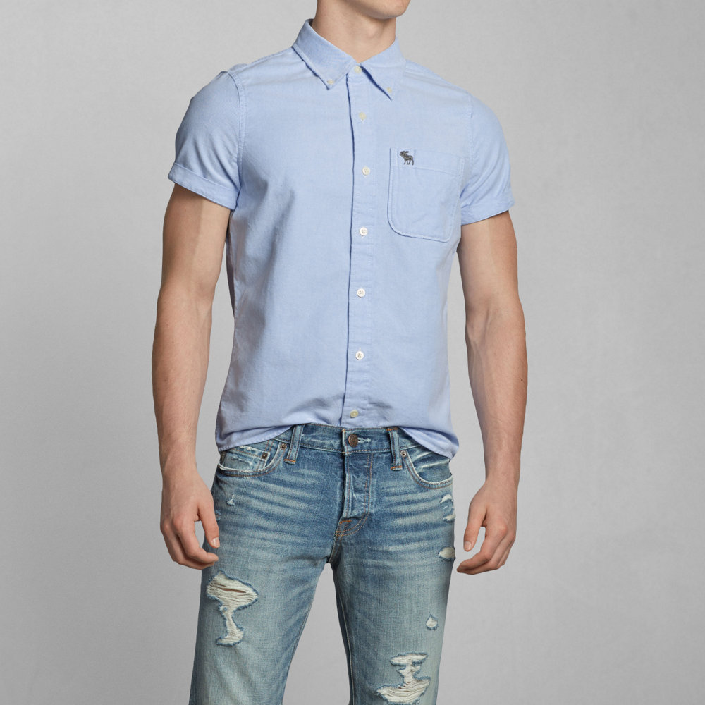 0f826641090 hype  Abercrombie shirt men s short sleeve shirt genuine button-down ...