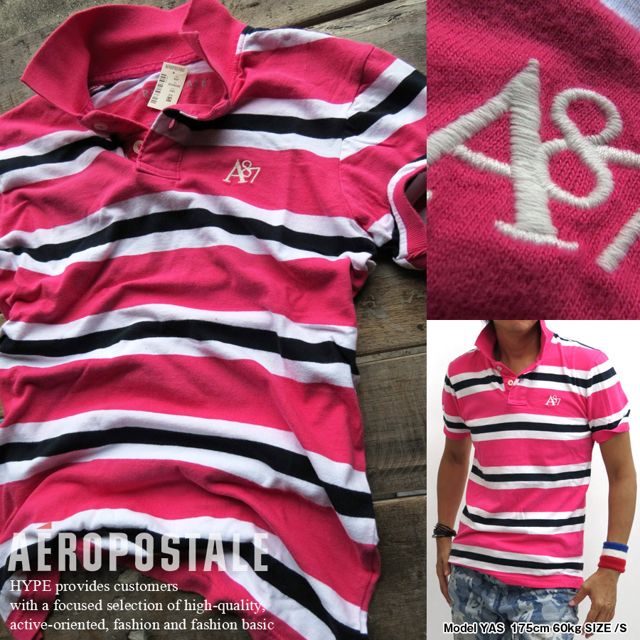 31c7960b Aeropostale polo shirt men's genuine short sleeve A87 border 6047-4483-679  AEROPOSTALE pink ...