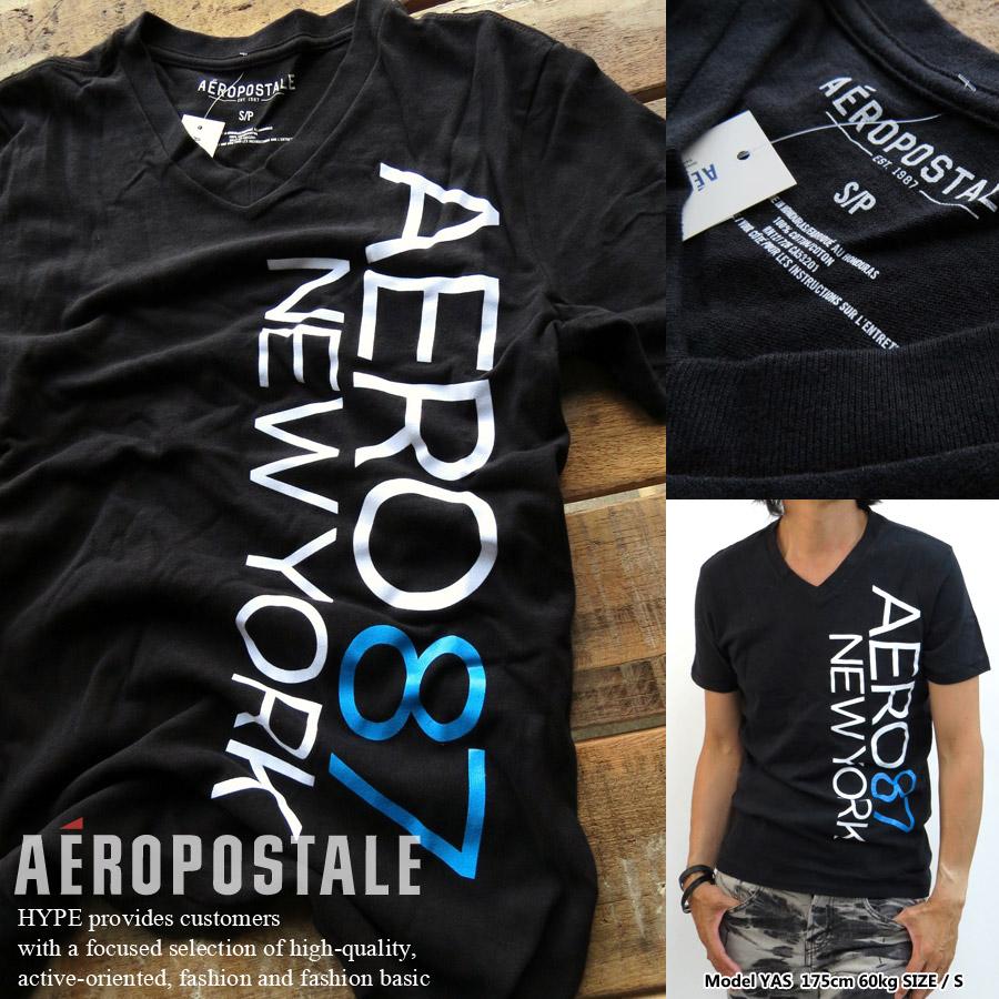 Hype Aeropostale V Neck T Shirt Mens Genuine Logo Print T Shirt