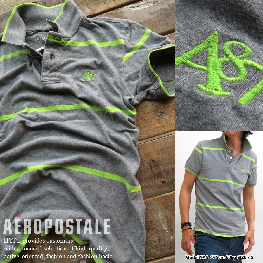 bad89378 Aeropostale polo shirt men's genuine short-sleeved A87 border 6047-4148-053  grey / green AEROPOSTALE □ 02140529