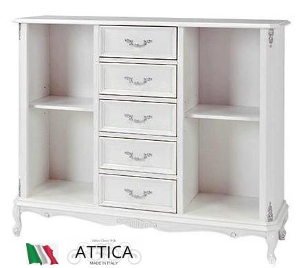 サイドボード ホワイト イタリア 家具 姫系 完成品 木製 猫脚 ATTICA アッティカ ヨーロピアン アンティーク 白 送料無料 開梱設置 おしゃれ チェスト リビング収納 白 北欧 クラシック I-8001-SB
