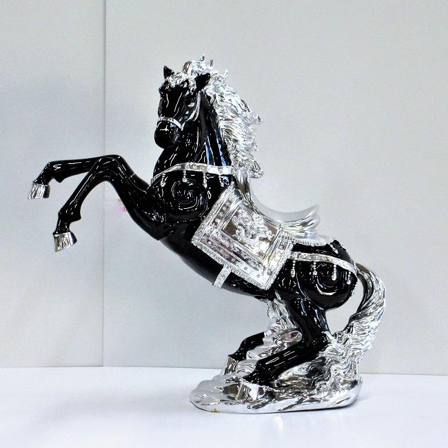 馬 置物 跳ね馬 オブジェ ブラック×シルバー( L )送料無料 オーナメント 黒 ホース うま 立ち馬 アンティーク クラシック インテリア 輸入雑貨 ヨーロピアン 父の日 ギフト プレゼント 贈り物