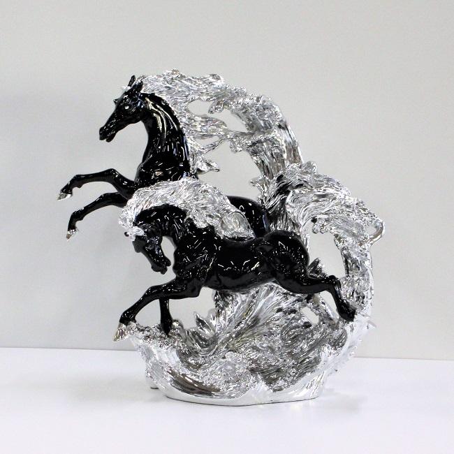 馬 置物 跳ね馬 オブジェ ブラック×シルバー 送料無料 2頭のホース オーナメント うま 立ち馬 白馬 アンティーク クラシック インテリア 輸入雑貨 ヨーロピアン 父の日 ギフト プレゼント 贈り物