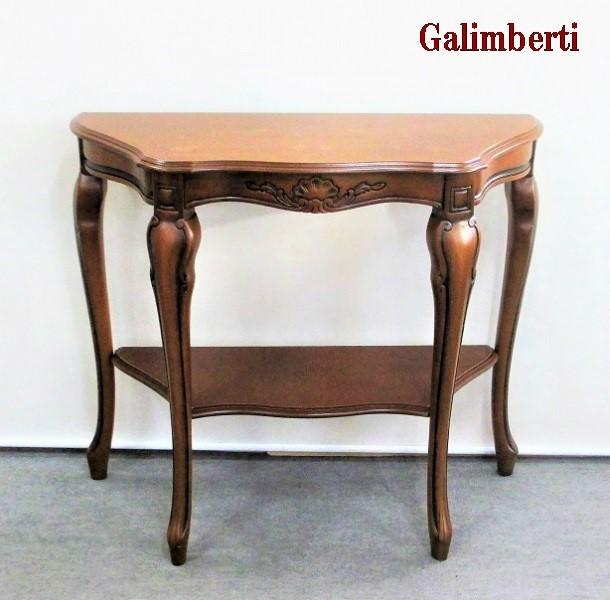 アンティーク コンソールテーブル 象嵌 木製 ブラウン ガリンベルティ イタリア製 送料無料 ラウンドコンソールテーブル クラシック ヨーロピアン アンティーク風 猫脚 おしゃれ