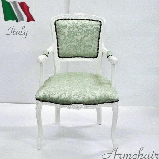 白家具 ダイニングチェア 肘付き 猫脚 いす イス 椅子 おしゃれ 白 ホワイト グリーン 木製 完成品 イタリア家具 ロココ調 姫家具 アンティーク クラシック 送料無料