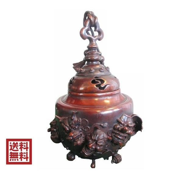 高岡銅器 香炉 青銅 日本製 お香 般若 天狗 送料無料 唐金 美術品 置物 床の間 インテリア贈答品
