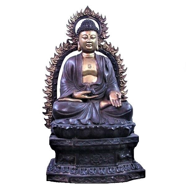 釈迦像 青銅 仏像 仏具 大型 ブロンズ像 お釈迦様 シャカ 銅像 唐金 仏教 寺 仏閣 置物 オブジェ インテリア 美術品 床の間 開梱設置付