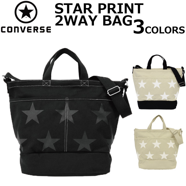 CONVERSE Converse STAR PRINT 2WAY TOTEBAG canvas print 2 way tote bag  shoulder bag tote bag men gap Dis A4 17946900 present gift commuting  attending school 72c2d441099dd