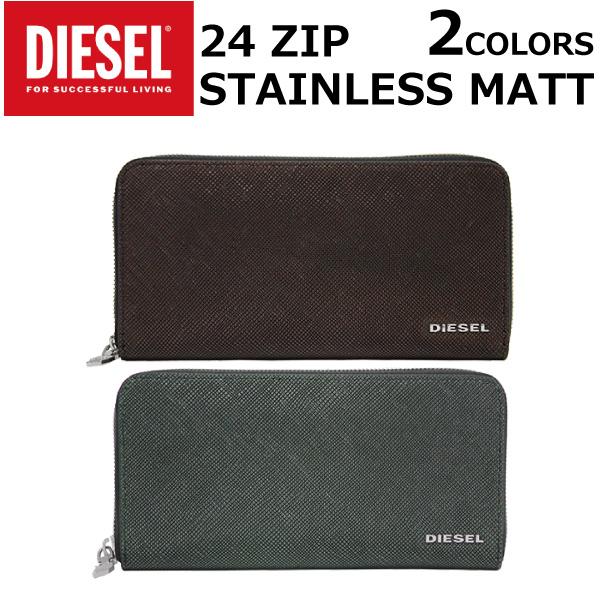 DIESEL ディーゼル STAINLESS MATT 24 ZIP ステンレス マット ジップ長財布 ラウンドファスナー レザー メンズ レディース X04747-P0517プレゼント ギフト 通勤 通学 送料無料