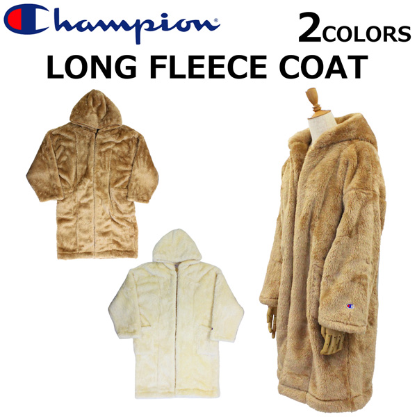 スーパーセールで使えるクーポン配布中!Champion チャンピオン Long Fleece Coat ロング フリース コートアウター ロゴ レディース CWQ608プレゼント ギフト 父の日 通勤 通学 送料無料