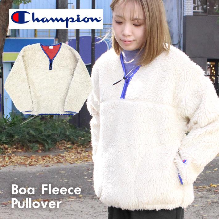 スーパーセールで使えるクーポン配布中!Champion チャンピオン Boa Fleece Pullover ボアフリースプルオーバー フッド パーカー コート ロゴ刺繍 ワンポイント CW-Q611レディース プレゼント ギフト 父の日 通勤 通学