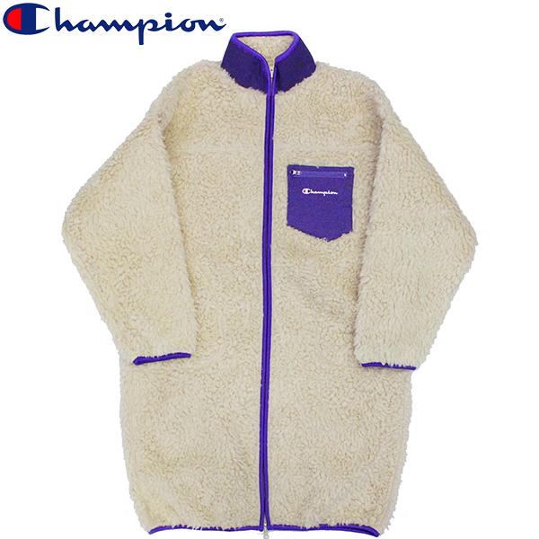 スーパーセールで使えるクーポン配布中!Champion チャンピオン Boa Fleece Long Jacket ボアフリース ロングジャケットコート ロゴ刺繍 ワンポイント CW-Q612レディース プレゼント ギフト 父の日 通勤 通学