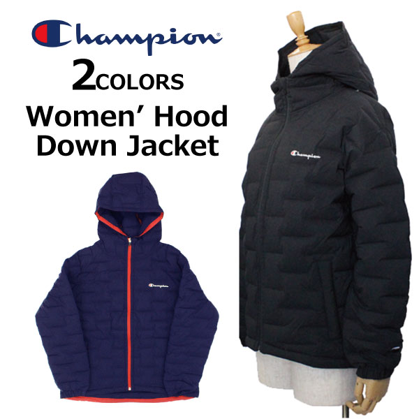 エントリー&3,980円以上お買い上げでポイント2倍!7/26 1:59まで Champion チャンピオン Women's Hood Down Jacket ウィメンズ フードダウンジャケットコート ロゴ刺繍 ワンポイント CW-QS601レディース プレゼント ギフト 通勤 通学
