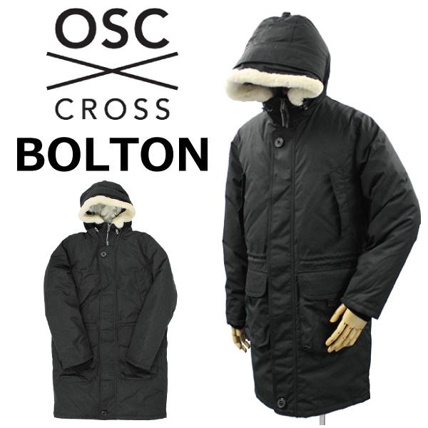 スーパーセールで使えるクーポン配布中!OSC CROSS オーエスシー クロス BOLTON ボルトンダウン ロングコート アウター フード ウールファー メンズ M40CX ミッドナイトブラックプレゼント ギフト 父の日 通勤 通学 送料無料