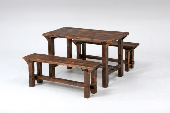 Stylish Yakisugi Table U0026 Bench Set Natural Wood Table And Bench Set ☆ Garden  Furniture! Wood !