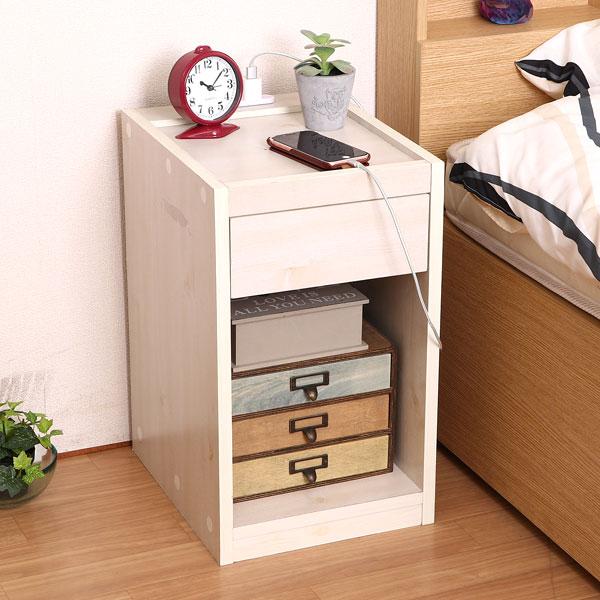 サイドテーブル ベッドサイドテーブル コンセント付き 収納BOX付 ソファーサイドやベッドサイド サイド テーブル サイドテーブルナイト テーブル 木製 北欧 つくえ ホワイトウォッシュ