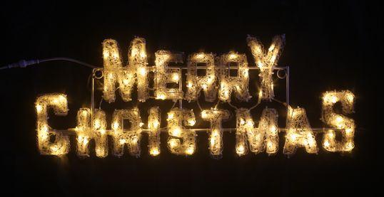 ツリーの飾りにピッタリのサインモチーフ 定番から日本未入荷 LED 海外並行輸入正規品 イルミネーション クリスタルグロー メリークリスマス 防滴 小 屋外仕様 W90×H37×D2cm
