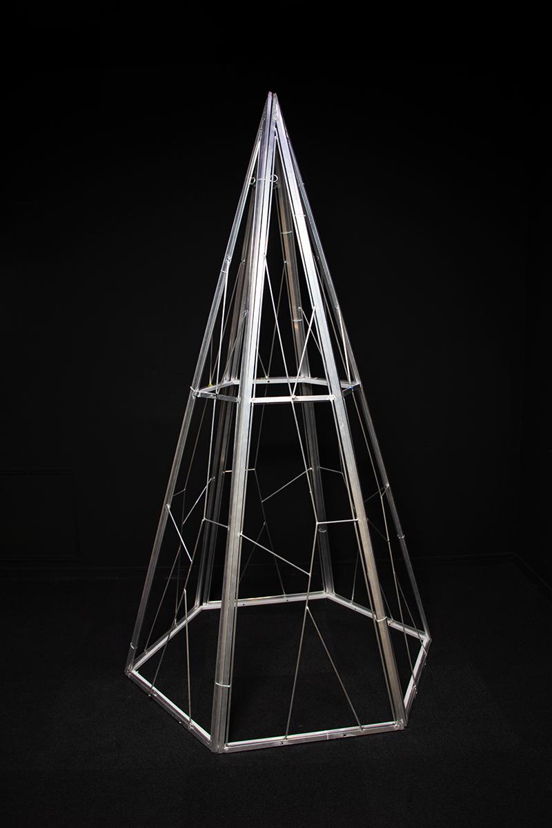 結婚祝い 豪華な スタイリッシュなアルミフレーム アルミデルタコーン アルミフレーム Ф116cm×H200cm 屋外仕様 組立商品