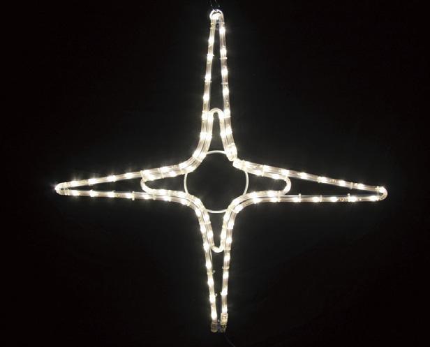夜空に輝く星をイメージしたモチーフイルミネーションです LEDイルミネーション 2Dロープモチーフ シャイニングスター タイプB 中 4放射 66cm 期間限定特価品 x イエローゴールド 防滴 希少 屋外 電飾 クリスマス おしゃれ 装飾 電球色