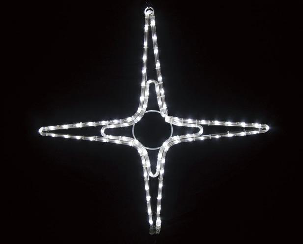 夜空に輝く星をイメージしたモチーフイルミネーションです LEDイルミネーション 2Dロープモチーフ シャイニングスター タイプB 舗 中 全国一律送料無料 4放射 66cm 装飾 おしゃれ クリスマス ホワイト 電飾 x 屋外 防滴