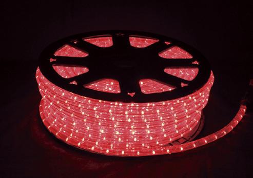 PVC樹脂製のロープ状のチューブ内にLEDを等間隔で配置した人気のLEDロープライト チューブライト です LED イルミネーションライト 10mm2芯 LEDロープライト レッド セール特別価格 50m カットマーク2m毎 在庫あり ツリー 電飾 クリスマス おしゃれ エンドキャップ付 屋外使用可 パワーコード