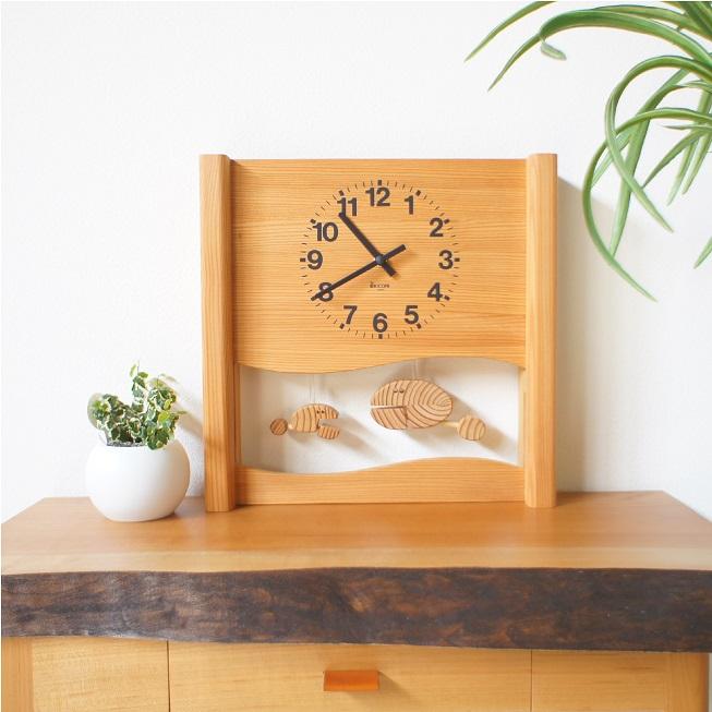 KICORI さかなの親子の時計 K184 木の時計 キコリ 無垢 国産 送料無料 置き時計 壁掛け 木製 掛け時計 木製時計 おしゃれ ナチュラル