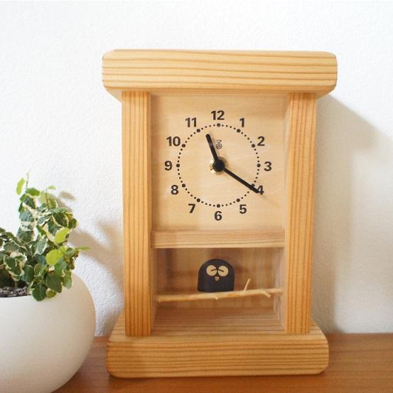 KICORI 枝のフクロウ時計 K123 木の時計 キコリ 国産 無垢 送料無料 置き時計 壁掛け 木製 掛け時計 木製時計 おしゃれ ナチュラル