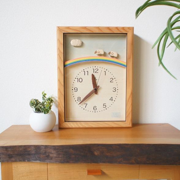 KICORI ひつじと虹の電波時計 K210 木の時計 キコリ 無垢 国産 送料無料 置き時計 壁掛け 木製 掛け時計 木製時計 おしゃれ ナチュラル
