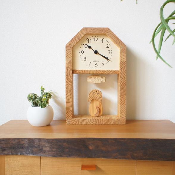 KICORI ネコとサカナの時計 K259 木の時計 キコリ 国産 送料無料 置き時計 壁掛け 木製 掛け時計 木製時計 おしゃれ ナチュラル